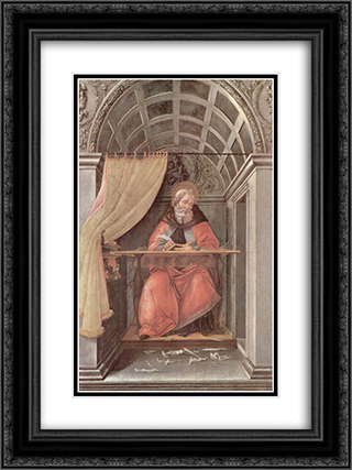 St. Augustine in his cell 18x24 Black or Gold Ornate Framed and Double Matted Art Print by Sandro Botticelli
