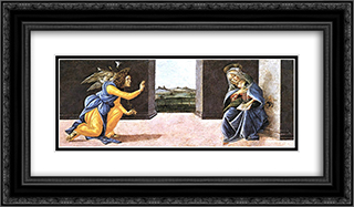 The Annunciation, predella panel from the Altarpiece of St Mark 24x14 Black or Gold Ornate Framed and Double Matted Art Print by Sandro Botticelli