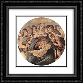 The Virgin Adoring the Child 20x20 Black or Gold Ornate Framed and Double Matted Art Print by Sandro Botticelli