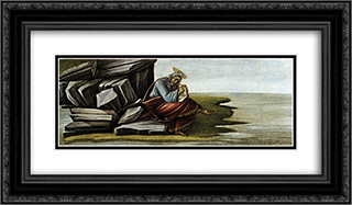 St John on Patmos 24x14 Black or Gold Ornate Framed and Double Matted Art Print by Sandro Botticelli