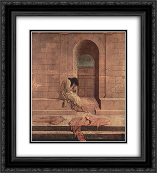 The outcast 20x22 Black or Gold Ornate Framed and Double Matted Art Print by Sandro Botticelli
