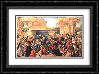 Adoration of the Magi 24x18 Black or Gold Ornate Framed and Double Matted Art Print by Sandro Botticelli