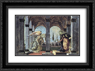 Annunciation 24x18 Black or Gold Ornate Framed and Double Matted Art Print by Sandro Botticelli