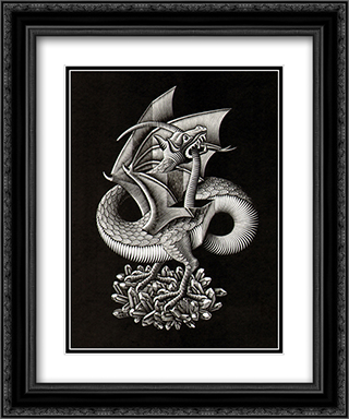 Dragon 20x24 Black or Gold Ornate Framed and Double Matted Art Print by M.C. Escher