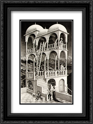 Belvedere 18x24 Black or Gold Ornate Framed and Double Matted Art Print by M.C. Escher