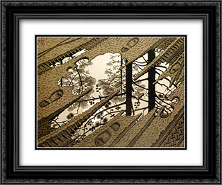 Puddle 24x20 Black or Gold Ornate Framed and Double Matted Art Print by M.C. Escher