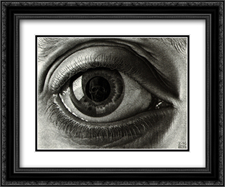 The Eye 24x20 Black or Gold Ornate Framed and Double Matted Art Print by M.C. Escher
