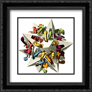 Gravitation 20x20 Black or Gold Ornate Framed and Double Matted Art Print by M.C. Escher