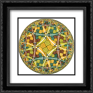 Circle Limit III (Fish) 20x20 Black or Gold Ornate Framed and Double Matted Art Print by M.C. Escher