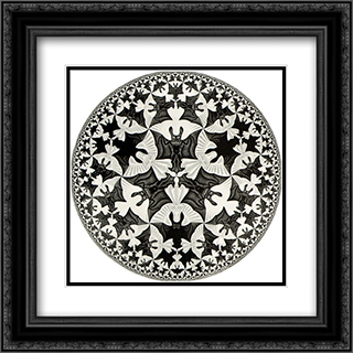 Circle Limit IV (Bats) 20x20 Black or Gold Ornate Framed and Double Matted Art Print by M.C. Escher