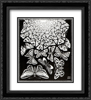 Butterflies 20x22 Black or Gold Ornate Framed and Double Matted Art Print by M.C. Escher