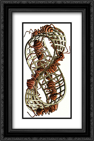 Mobius Band 16x24 Black or Gold Ornate Framed and Double Matted Art Print by M.C. Escher