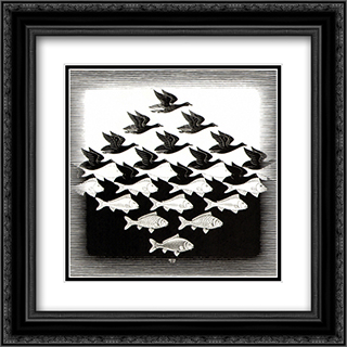 Sky and Water I 20x20 Black or Gold Ornate Framed and Double Matted Art Print by M.C. Escher