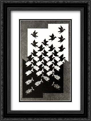 Sky and Water II 18x24 Black or Gold Ornate Framed and Double Matted Art Print by M.C. Escher