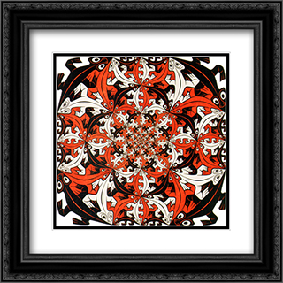 Smaller and Smaller 20x20 Black or Gold Ornate Framed and Double Matted Art Print by M.C. Escher