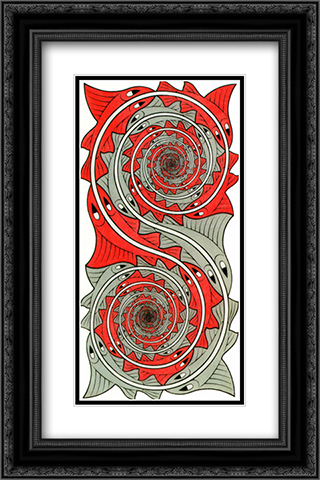 Whirlpools 16x24 Black or Gold Ornate Framed and Double Matted Art Print by M.C. Escher