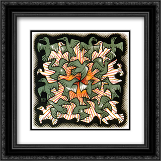 Sun and Moon 20x20 Black or Gold Ornate Framed and Double Matted Art Print by M.C. Escher