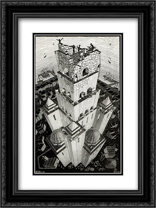 Tower of Babel 18x24 Black or Gold Ornate Framed and Double Matted Art Print by M.C. Escher