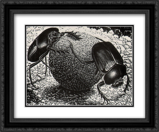 Scarebs 24x20 Black or Gold Ornate Framed and Double Matted Art Print by M.C. Escher