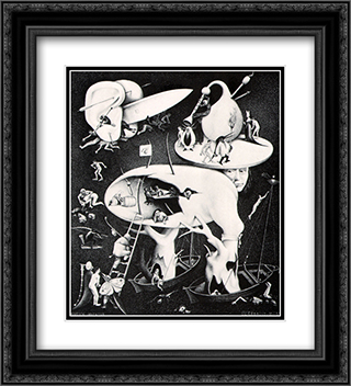 The Garden of Delight 20x22 Black or Gold Ornate Framed and Double Matted Art Print by M.C. Escher
