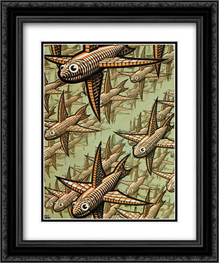 Depth 20x24 Black or Gold Ornate Framed and Double Matted Art Print by M.C. Escher