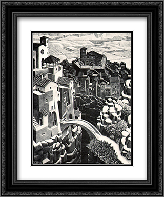 Castrovalva 20x24 Black or Gold Ornate Framed and Double Matted Art Print by M.C. Escher