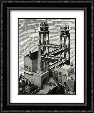 The Waterfall 20x24 Black or Gold Ornate Framed and Double Matted Art Print by M.C. Escher
