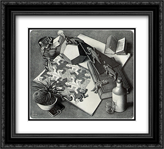 Reptiles 22x20 Black or Gold Ornate Framed and Double Matted Art Print by M.C. Escher