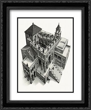 Ascending Descending 20x24 Black or Gold Ornate Framed and Double Matted Art Print by M.C. Escher