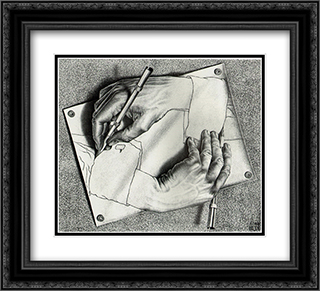 Drawing Hands 22x20 Black or Gold Ornate Framed and Double Matted Art Print by M.C. Escher