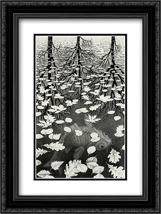 Three Worlds 18x24 Black or Gold Ornate Framed and Double Matted Art Print by M.C. Escher