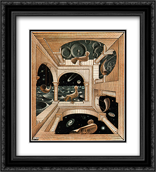 Other World 20x22 Black or Gold Ornate Framed and Double Matted Art Print by M.C. Escher