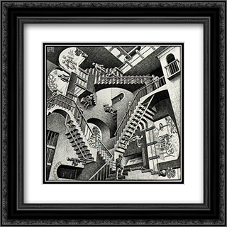Relativity 20x20 Black or Gold Ornate Framed and Double Matted Art Print by M.C. Escher
