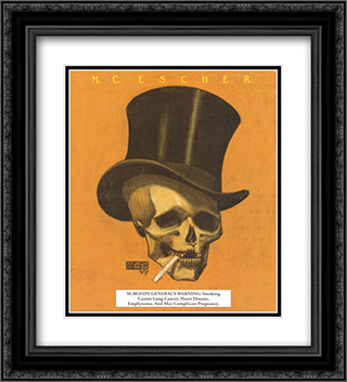 Skull with Cigarette 20x22 Black or Gold Ornate Framed and Double Matted Art Print by M.C. Escher