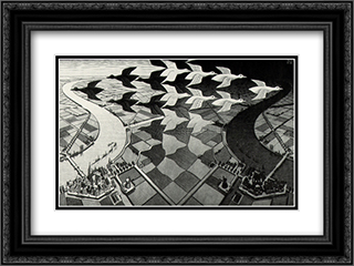 Day and Night 24x18 Black or Gold Ornate Framed and Double Matted Art Print by M.C. Escher