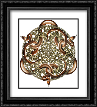 Snakes 20x22 Black or Gold Ornate Framed and Double Matted Art Print by M.C. Escher