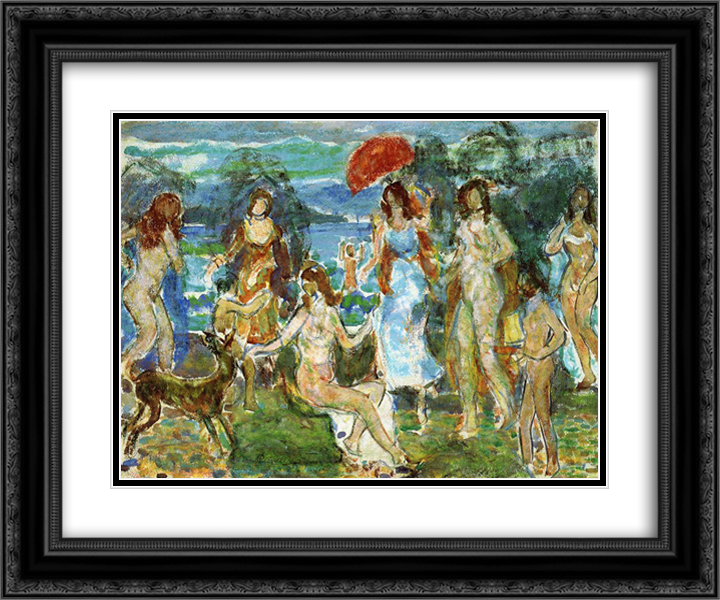 Distance Hills, Maine 24x20 Black or Gold Ornate Framed and Double Matted Art Print by Maurice Prendergast