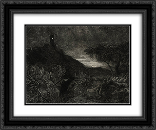 The Lonely Tower 24x20 Black or Gold Ornate Framed and Double Matted Art Print by Samuel Palmer