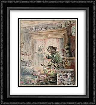 Where is My Twist? 20x22 Black or Gold Ornate Framed and Double Matted Art Print by Beatrix Potter