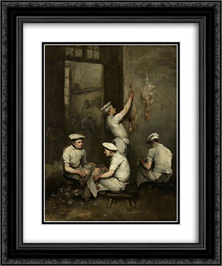The Cooks 20x24 Black or Gold Ornate Framed and Double Matted Art Print by Theodule Ribot