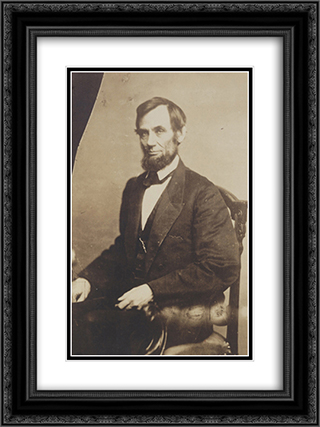 President Abraham Lincoln, three-quarter length portrait, seated, May 16, 1861 18x24 Black or Gold Ornate Framed and Double Matted Art Print by American History