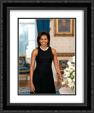 First Lady Michelle Obama official portrait 20x24 Black or Gold Ornate Framed and Double Matted Art Print by LOC-00357u