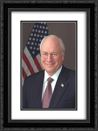 Official portrait of Vice President Cheney taken in the Roosevelt Room 18x24 Black or Gold Ornate Framed and Double Matted Art Print by LOC-00367u