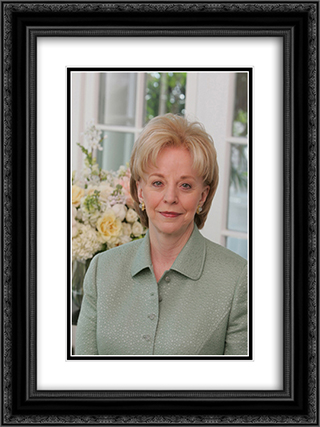 Official portrait of Mrs. Lynne Cheney. Naval Observatory 18x24 Black or Gold Ornate Framed and Double Matted Art Print by LOC-00368u