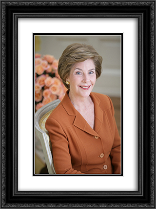 LB [i.e. Laura Bush] official portrait The yellow oval, residence. 18x24 Black or Gold Ornate Framed and Double Matted Art Print by LOC-00372u