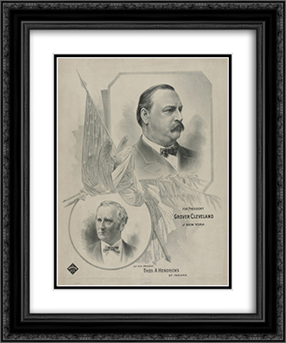 For president Grover Cleveland, of New York - for vice president Thos. A. Hendricks, of Indiana 20x24 Black or Gold Ornate Framed and Double Matted Art Print by LOC-00542u