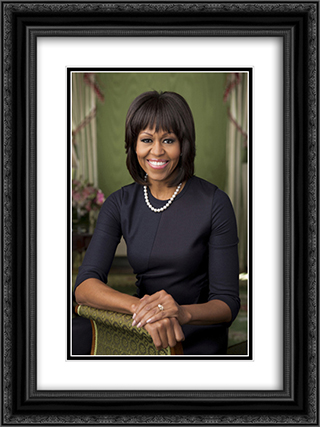 Official portrait of First Lady Michelle Obama in the Green Room of the White House 18x24 Black or Gold Ornate Framed and Double Matted Art Print by LOC-00604u
