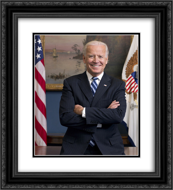 46th President of the United States Joe Biden in his West Wing office at the White House during his term as Vice President20x22 Black or Gold Ornate Framed and Double Matted Art Print by LOC-00605u