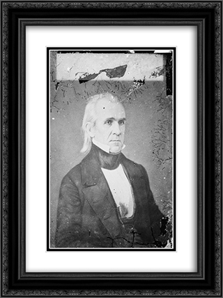 President James A. Polk 18x24 Black or Gold Ornate Framed and Double Matted Art Print by LOC-00700u