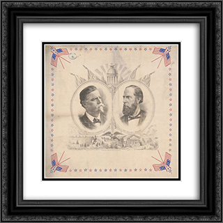 Head-and-shoulders portraits of Gen. Winfield Scott Hancock and Honr. William H. English in ovals, surrounded by patriotic motifs 20x20 Black or Gold Ornate Framed and Double Matted Art Print by LOC-00846u